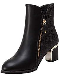 Ansenesna Stiefeletten Damen Schwarz Leder Mit Absatz Elegant Reißverschluss Schuhe Frauen Blockabsatz Pumps Einfarbig Vintage