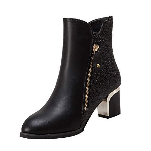 TTLOVE 2018 Damen Leather High-Top Damen Bare Stiefel mit hohen Absätzen Stiefeletten spitz Schuhe Reißverschluss schwarz Wein Colors 35-42size