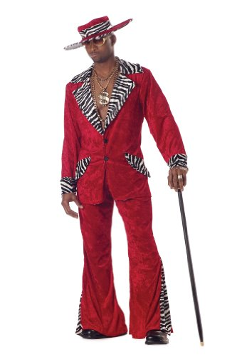 Zebra Pimp Kostüm - Red Pimp Costume Adult Large