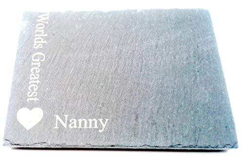 Chris Tasche von Leckereien Worlds Greatest Nanny quadratisch grau Slate Herz Motiv Neuheit Andenken Single One Untersetzer Geburtstag Idee aus Grandchildren für Getränke