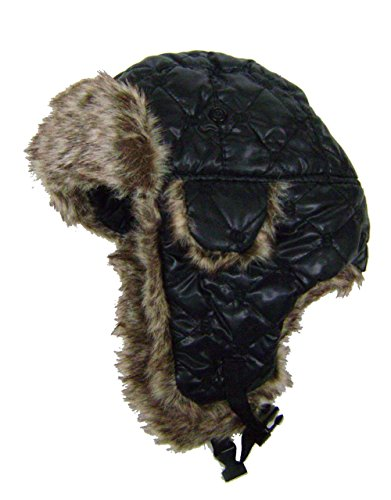 modestone-quilted-warm-trapper-bomber-hat-grey-faux-fur-trim-o-s-black