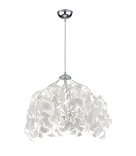Reality Leuchten Pendelleuchte Leavy R10461901, Metall Nickel matt, Schirm Kunststoff weiß, 1 x E27 -