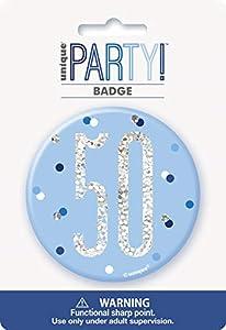 Unique Party 83522 - Insignia de cumpleaños, color azul y plateado