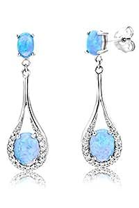 ByJoy - Boucles d'Oreilles - Argent 925/1000 - Ovale - Bleu - Opale - Femme