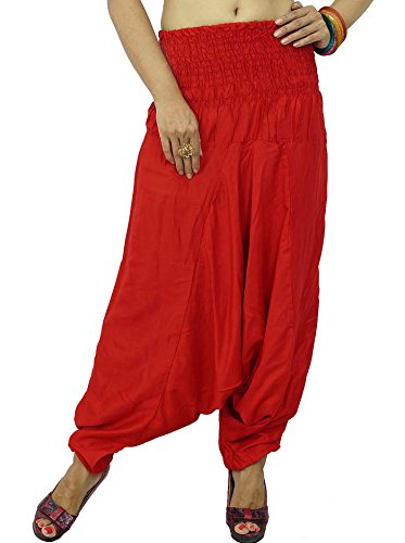 Pantalons Rayonne Tissu Harem Plage Solides Motif Femmes Boho Pant Rouge