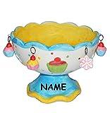 Unbekannt 1 Stk _ große Schale incl. Namen - mit 3-D Törtchen Anhänger + Fuß - aus Porzellan / Keramik - Schale - Eisschale / Eisbecher - Dessertschale Vorspeise Nachsp..
