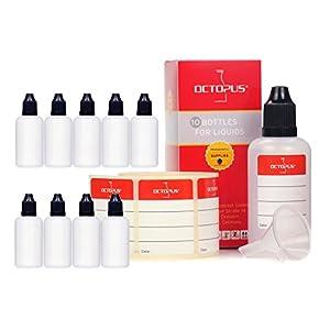 10 x 50 ml Liquidflaschen mit Trichter + Etiketten: für E-Liquids, E-Zigaretten, Plastikflaschen aus PE LDPE, Dosierflaschen, Tropfflaschen bzw. Quetschflaschen + schwarze Deckel mit Kindersicherung