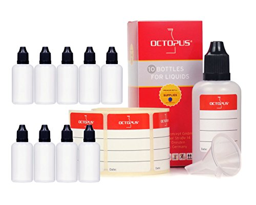 10 x 50 ml Octopus Tropfflaschen, zur Dosierung von Flüssigkeiten, E-Liquids, Augentropfen, leere LDPE Kunststoffflaschen transparent, Plastikflaschen mit schwarzen Tropfverschlüssen, mit Kindersicherung, inkl. 10 Beschriftungsetiketten