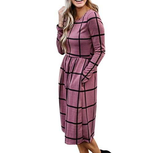 Longra Damen Kleid Langarm Tartan Kariert Swing Kleid Langarm Bluse Blaues Kariert Plaid Shirtkleid Mini Kleid Damen Hemd Langarmshirt Karohemd Hemdkleid Blusenkleid Kurz Kariertes Hemden (Pink, XL) (Kleid Pink Tartan)