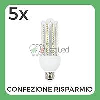 Confezione da 5 Pz di Lampadina Led T4 E27 23W 4U Bianco Freddo 6000K