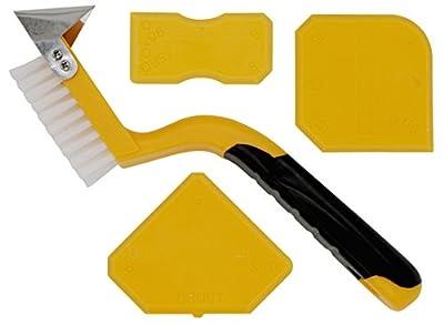 thorani à joints Lisseur avec brosse en jaune–Profi Kit de joint extracteur et lisseur en silicone pour joints en silicone, couteau à mastic, glätts pachtel, nettoyage à joints Outils,, 4pièces