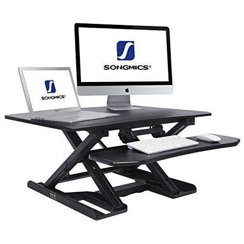 Sitz-stehtisch (SONGMICS Sitz-Steh-Schreibtisch höhenverstellbarer Aufsatz Laptop-Ständer Monitorständer Schnell zum Stehen einstellen abnehmbaren und winkeleinstellbaren Tastaturablage 80 x 62 cm schwarz LSD08B)