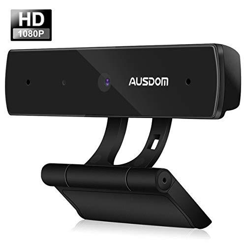 Ausdom Webcam HD 1080P USB Kamera Web Cam Skype zertifiziert mit integriertem Mikrofon, Kompatibel mit Windows, Mac und Android - Schwarz