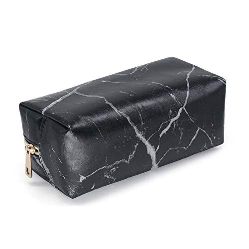 Setsail Marmor-Druck große Kapazität kosmetische Fall tragbare Wash Bag Doppel-Aufbewahrungstasche Mode Persönlichkeit Kosmetiktasche Federmäppchen (Schwarz) - Doppel-marmor