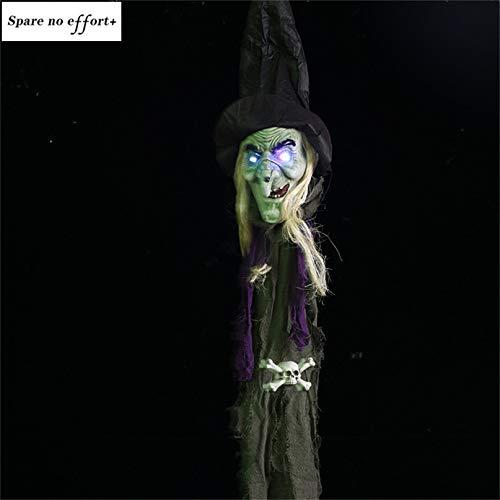 WSJDE Halloween Horror Dekoration Haus hängen Schwarze Hexe Ornamente Halloween gruselig Prop elektrische Haunted Doll Festival Hexe Dekor