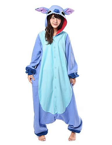 Generique - Kigurumi Lilo and Stitch-Overall Kostüm für Erwachsene Flieder-blau M / L (Stich Kostüm Für Erwachsene)