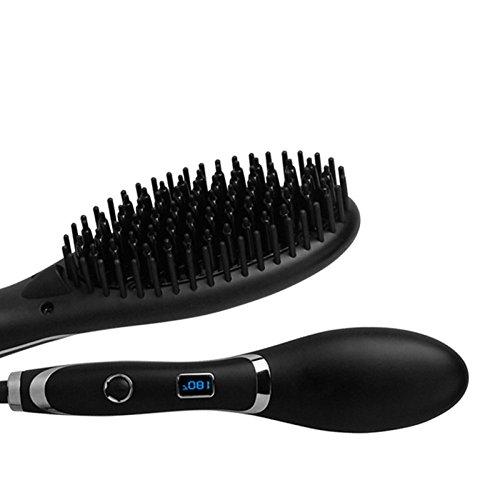 JHGFRT Ionische Haarglätter, Keramikbeschichtete Haarbürste, Schnelle Heizfunktion mit Heißluftbürste und Perfektem Überhitzungsschutz, Absolut Anti-bügelndes Stylingpinsel