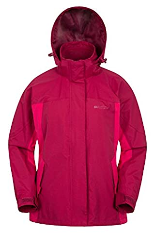 Mountain Warehouse Storm 3 in 1 Women's Waterproof Jacket - Multiple Pockets, Highly Breathable with Waterproof Fabric & Taped Seams, Detachable Fleece Fuchsia 22