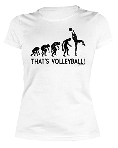 Damen T-Shirt Volleyball - lustige Sport Sprüche : Evolution - That`s Volleyball! -- Volleyball Sportshirt Frauen Farbe: weiss Gr: L (Designs T-shirt Volleyball)