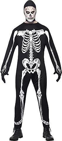 Smiffys, Herren Skelett Kostüm, Jumpsuit mit Kapuze und Handschuhen, Größe: L, 23032