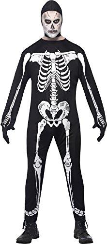 Smiffys, Herren Skelett Kostüm, Jumpsuit mit Kapuze und Handschuhen, Größe: L, (Kostüme Ideen Herren Halloween)
