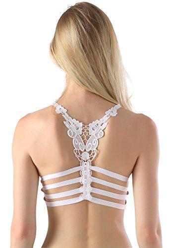 Frauen Kreuz Zurück Bh-top (Wealurre Frauen Strappy Bralette gepolsterte Nylon Yoga BH Top sportliche Mini halbe Cami)