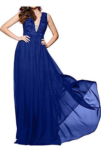 Ivydressing Damen 2017 Neu bodenlang V-Ausschnitt Aermellos Chiffon Tuell Spitze Applikation Strass Knopf gedeckt Abendkleid Partykleid Ballkleid Royalblau