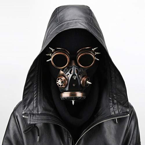 Mkulxina Biogefährdung Steampunk Gasmaske Brille Spikes Skelett Krieger Tod Maske Maskerade Cosplay Halloween Kostüm Requisiten (Color : Brass)