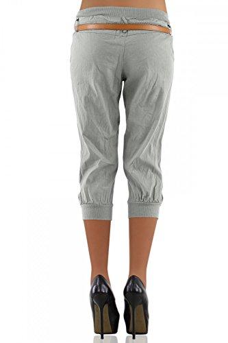 DANAEST Damen Capri Hose inkl. Gürtel ( 276 ) Grau