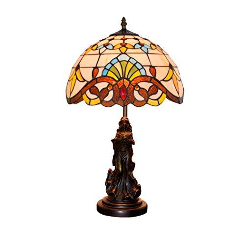 12 Zoll Tiffany Stil Tischlampe, klassische Barock Kristall Perlen Glasmalerei Schatten Schreibtischlampe neben Schlafzimmer Dekor Lampe mit Göttin Skulptur Basis Barock-skulptur