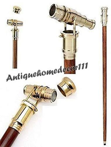 Vintage Nautical Brass Handle Folding Telescope Cane Walking Stick Xmas Gift