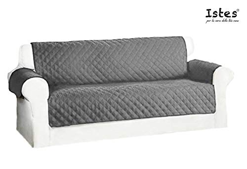 Istes Sofa 3 squares Waterproof Waterproof Protector Sofa | Two-Sided Covers for Dogs / Cats | 190 x 167 cm | Burgundy Bicolor White Pearl O Light Gray / Dark Gray