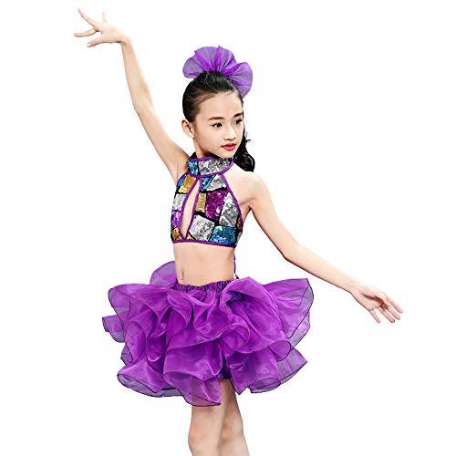 Tutus Dance Kostüm Jazz - HUO FEI NIAO Tanzkostüm - Kinderbekleidung Pailletten Tutu Kindergarten Modern Dance Gaze Performance Kostüme Mädchen Jazz Dance Kostüme (Farbe : Lila, größe : 140cm)