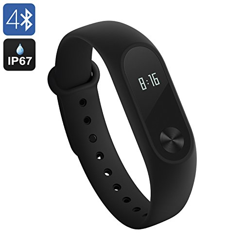 Xiaomi Mi Band 2 Activity Tracker, Cardiofrequenzimetro da Polso Braccialetto Fitness Tracker Bluetooth 4.0 Pedometro Monitoraggio del Sonno Impermeabile IP67 per Android e IOS, nero