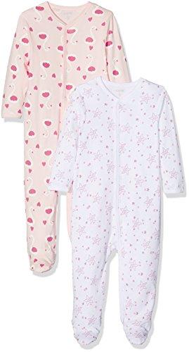 Care Baby-Mädchen Schlafstrampler, 2er Pack, Mehrfarbig (Weiss 100), 6 Monate (Herstellergröße: 68)