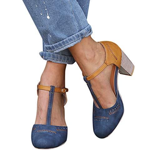 Studio Damen Schwarz Heels Sandalen (Keilabsatz Schuhe Damen Sommer Sandalen Mode Wedge Schuhe Römische Runde Zehe Sandaletten Schnalle Strap Sandalen High Heels Schuhe ABsoar)