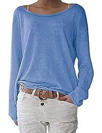 ZANZEA Mujer Camisetas Tallas Grandes Holgada Cardigan Manga Larga Suelta Blusa Jersey Pullover Casual Tops