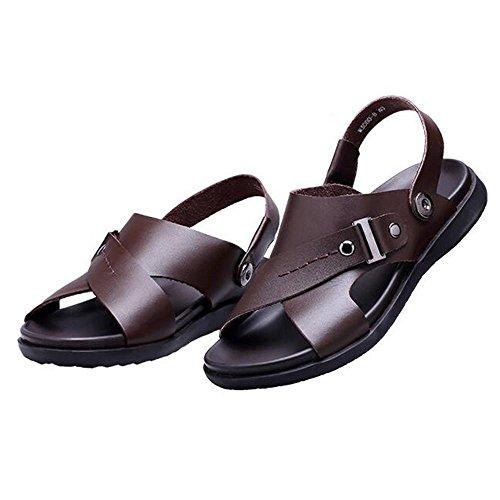 Man 's Sommer echtes Leder Strand Schuhe Casual Sandalen Brown
