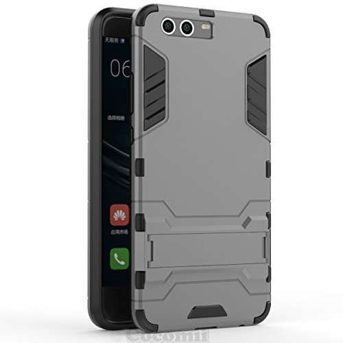 Huawei P10 Funda, Cocomii Iron Man Armor NEW [Heavy Duty] Premium Tactical Grip Kickstand Shockproof Hard Bumper Shell [Military Defender] Full Body Dual Layer Rugged Cover Case Carcasa (Gray)