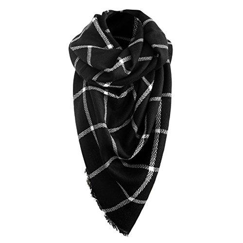 Oversized Damen Herbst/Winter Schal Übergroßer Schal Winterschal in der Farbe schwarz/weiss XXL Damen Schal von der Marke MyBeautyworld24