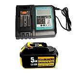 18V 5.0Ah Ersatz Akku mit Ladegerät für Makita Baustellenradio DMR100 DMR108 DMR107 DMR106 DMR106B DMR102 DMR104 DMR110 DMR101 DMR103B BMR102 BMR100 BMR104 18 Volt Radio Batterie