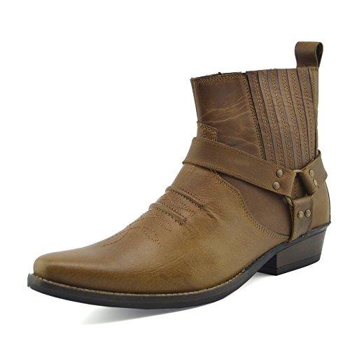 Herren Cowboy Ankle Boots Aus Leder Biker-Boots Aus Leder Toe - UK 8 / EU 42, Tan KK4 (Spitzen Herren Zehe-boot)