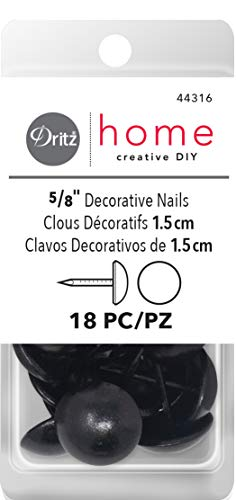 Dritz Polster Dekorative Nägel 5/81schwarz Glatte Nagel Kopf, Acryl, Mehrfarbig, 3-teilig (Schwarz, Polster-nägel)