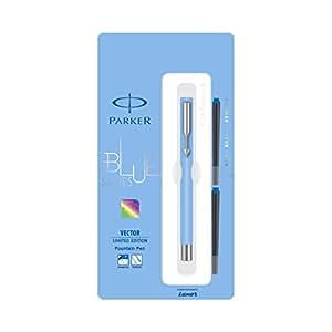 Parker Vector Limited Edition Light Blue Body Chrome Trim Fountain Pen, Blue Ink