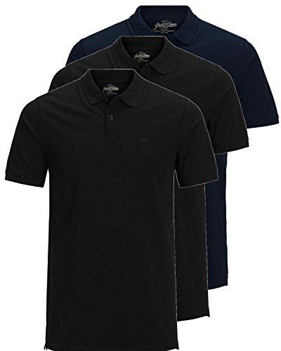 JACK & JONES 3er Pack Herren Poloshirt Slim Fit Kurzarm schwarz weiß blau grau XS S M L XL XXL Einfarbig Gratis Wäschenetz von B46 (3er Pack Mix6, XL) (Herren Shirt Baumwolle Polo)