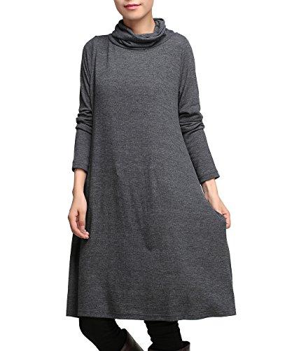 ELLAZHU Basic Style Rollkragen Taschen Einfarbig Strick Midi Kleid WO153 WO153 Grau