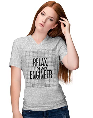 Relax I'm Engineer Blueprint Slogan Damen V-Neck T-Shirt (Tank Thomas Shirt Engine)