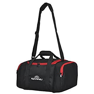 Keanu Practical Sports Bag 43 L. Folding Laundry Compartment Locker Can Gym Sports Fitness Yoga Sauna: Large Multifunctional Bag Wellness:: Travel Bag Black/Red Small