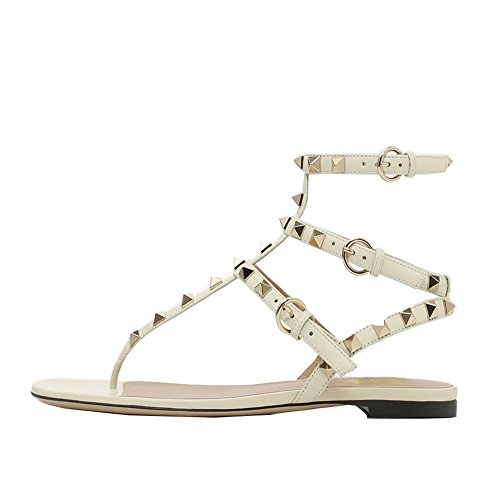 Lutalica Damenmode T-Strap besetzt Casual Komfort Sommer Flache Sandalen Schuhe Matt Weiß Größe 37 -