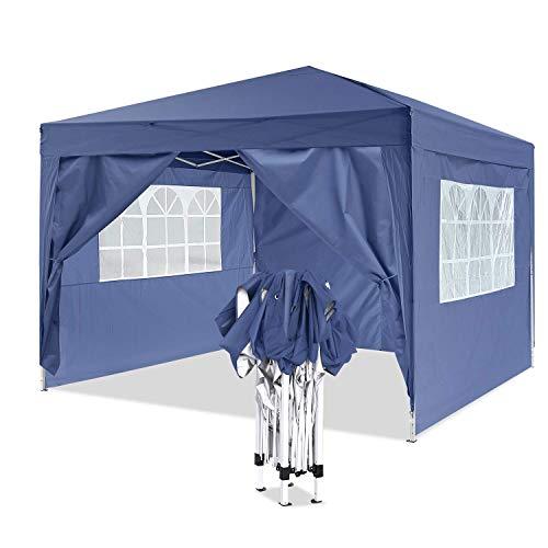 YUEBO Pavillon 3x3, Wasserdicht Faltbare Gartenpavillon Festival Sonnenschutz Faltpavillon mit 4 Seitenteilen und Tragetasche (Blau#)